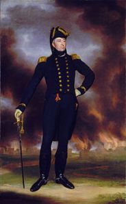Admiral George Cockburn stands with Washington D.C. burning in the background.