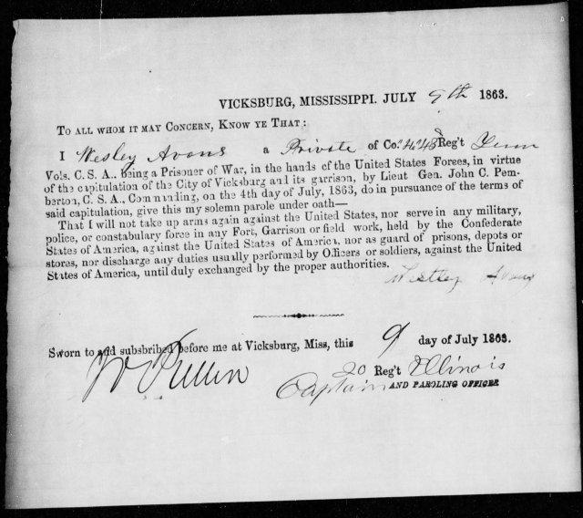 Parole Paper - 1863 Vicksburg