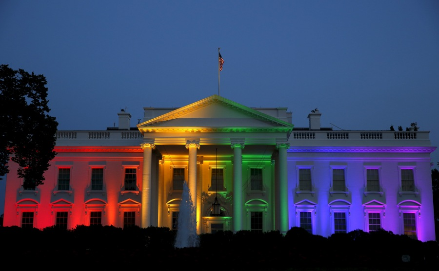 The White House is illuminated in rainbow colors after today's historic Supreme Court ruling legalizing gay marriage in Washington
